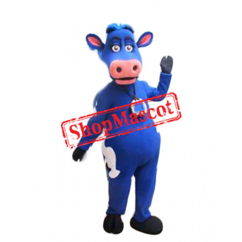 Top Quality Blue Cow Mascot Costume