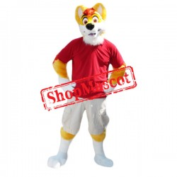 Yellow & White Husky Dog Mascot Costume