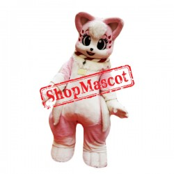 Pink & White Cat Mascot Costume