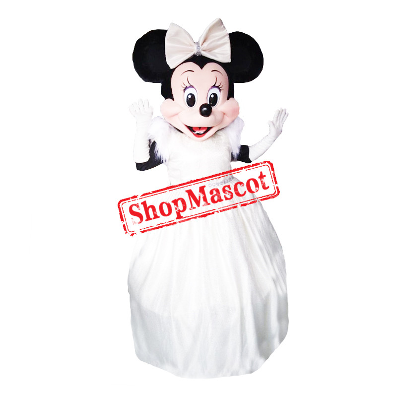 Minnie Mouse Bride Wedding White Dress Mascot Costume
