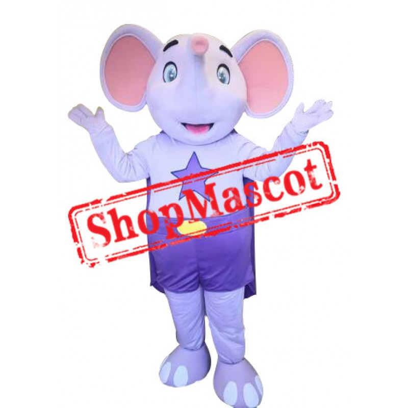 Purple Elephant Mascot Costume