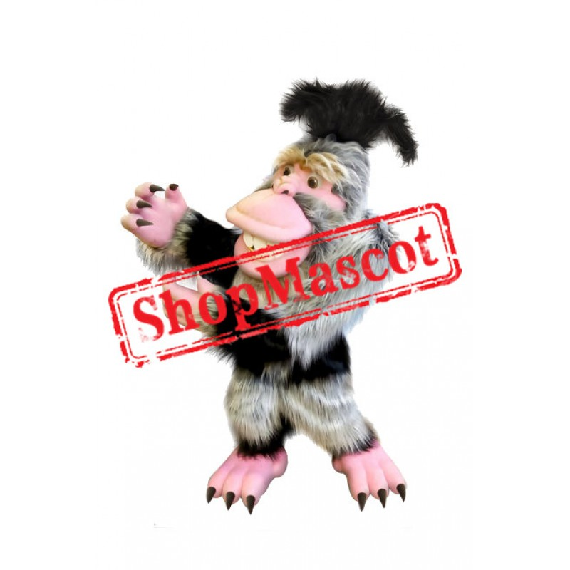 White Long Furry Monkey Mascot Costume