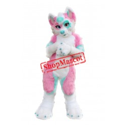 Pink & Blue Husky Dog Mascot Costume