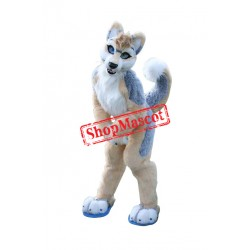 Brown & Gray Husky Dog Mascot Costume