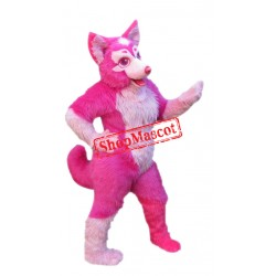 Super Cute Pink Husky Dog Mascot Costume