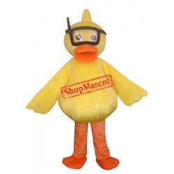 Yellow Diving Duck Mascot Costume