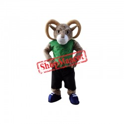 Sport Ram Mascot Costume with Green T shirt