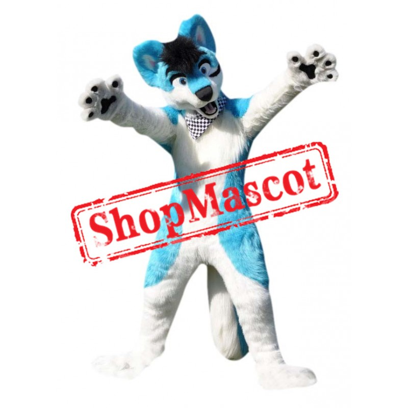 White & Blue Wolf Mascot Costume
