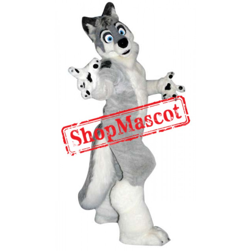 Grey & Black Wolf Mascot Costume