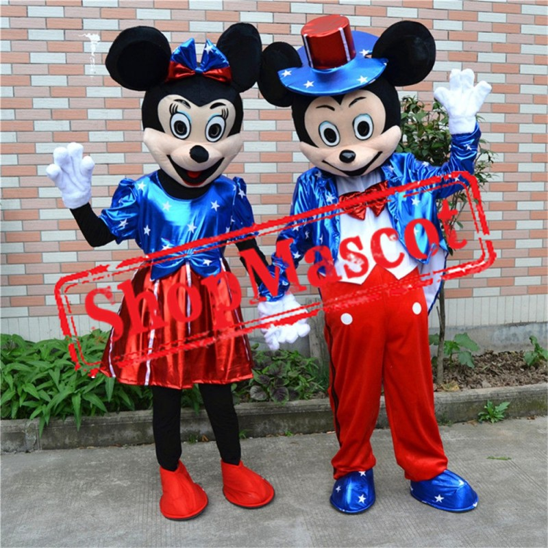 USA Flag Minnie & Mickey Mascot Costume