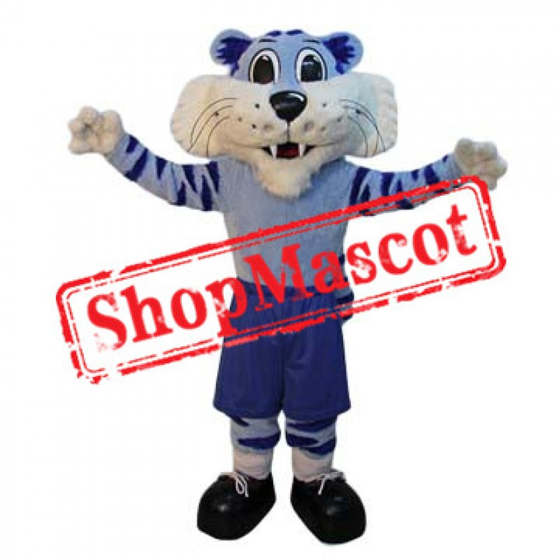 Super Cute Blue Tiger Mascot Costume
