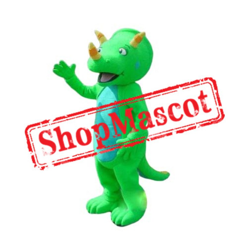 High Quality Green Triceratops Dinosaur Mascot Costume