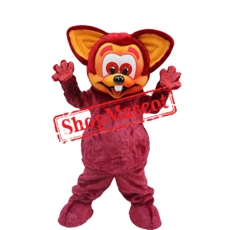 Smiling Red Mouse Mascot Costume