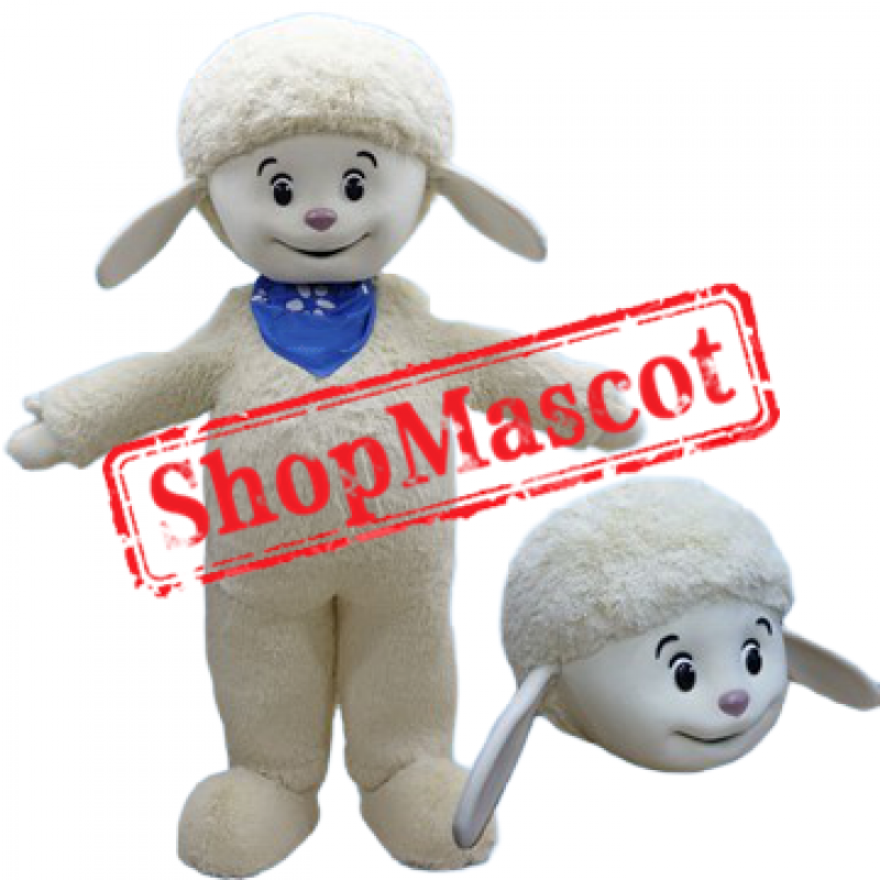 Smiling Sheep Mascot Costume