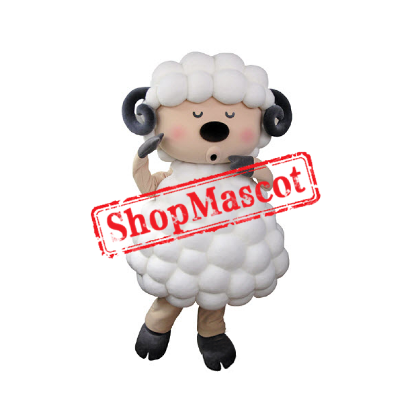 Funny White Sheep Mascot Costume