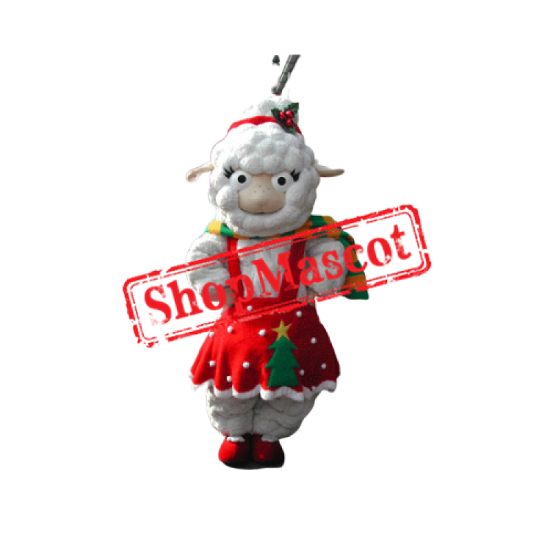 Red Dress Sheep Mascot Costume