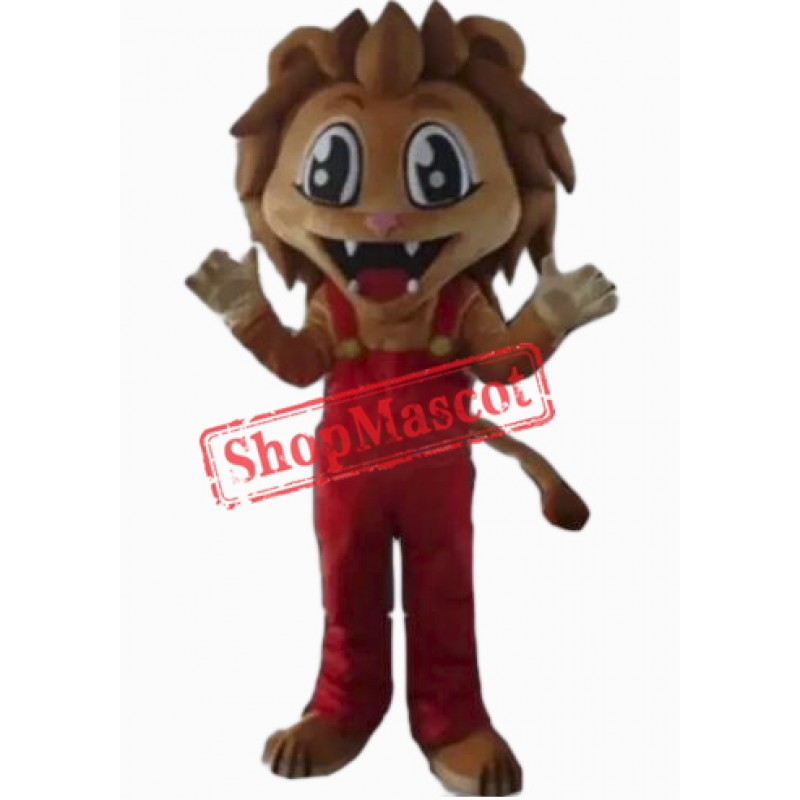 Happy Realistic Lion Mascot Costume