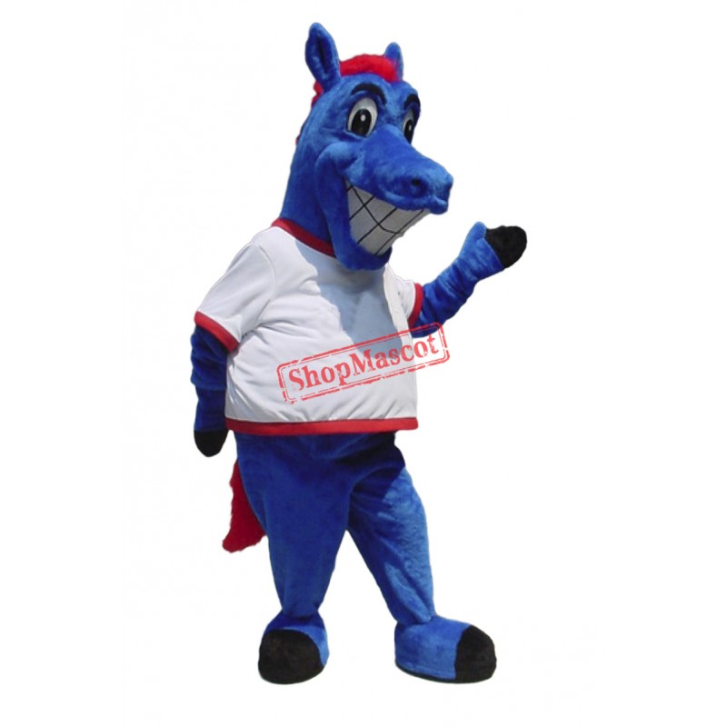 Happy Blue Horse Mascot Costume