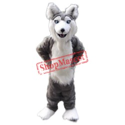 Gray Husky Dog Mascot Costume
