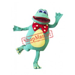 Happy Green Frog Mascot Costume