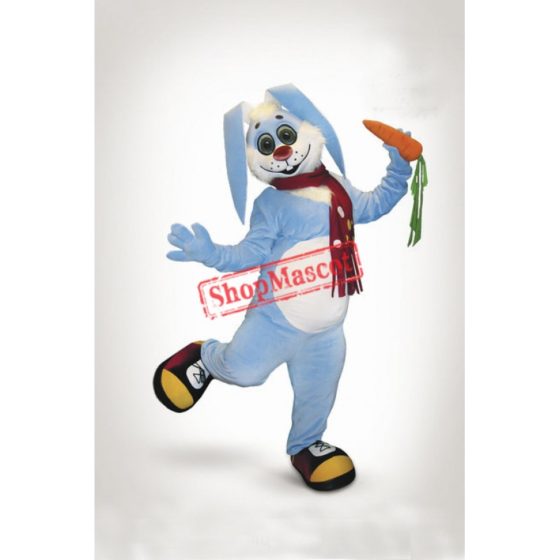 Cute Blue Rabbit Mascot Costume