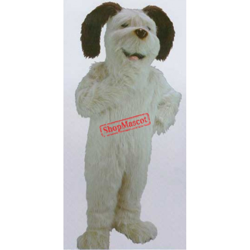 White Shaggy Dog Mascot Costume