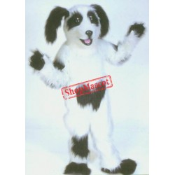 White & Black Shaggy Dog Mascot Costume