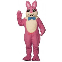 Pink Smiling Bunny Mascot Costume
