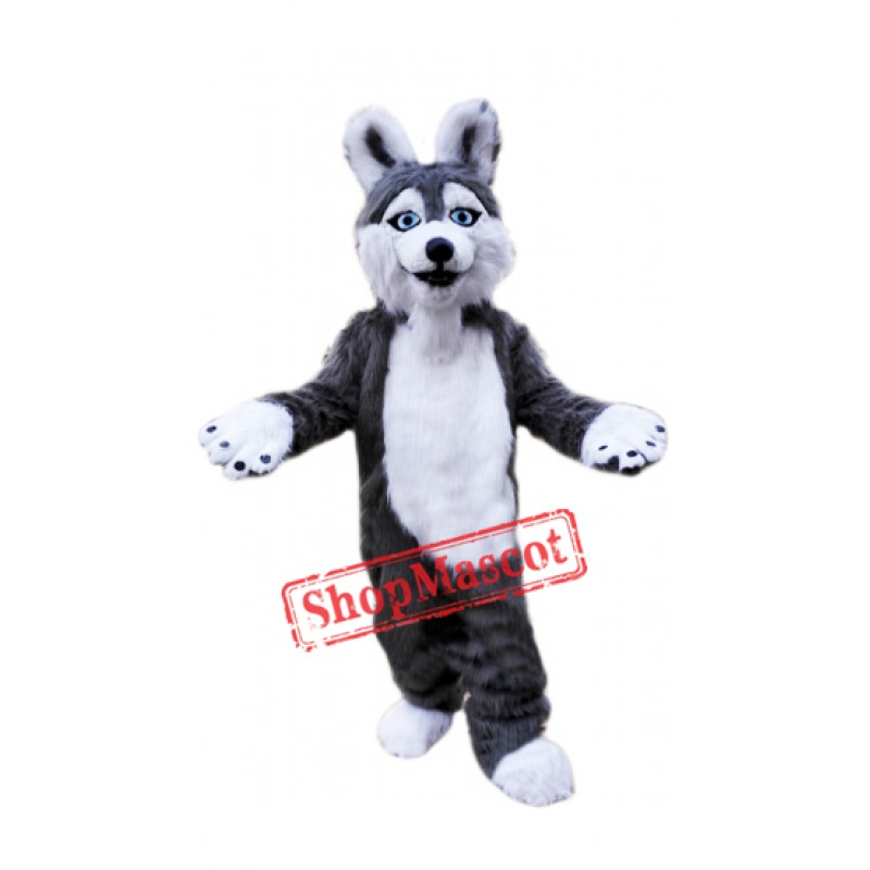 Grey Plush Husky Dog Mascot Costume