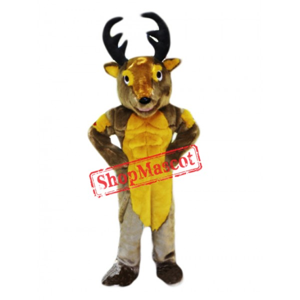 Power Muscular Deer Mascot Costume