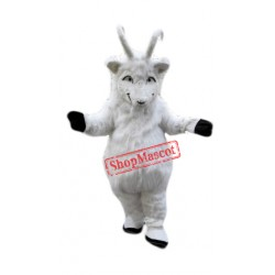 Plush White Goat Mascot Costume