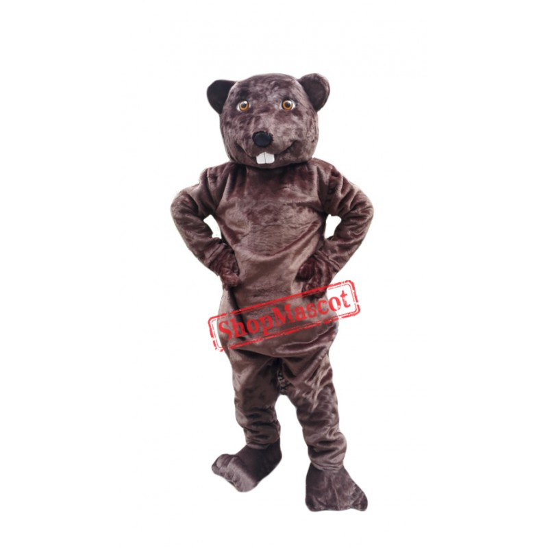 Happy Adult Beaver Mascot Costume