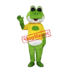 Friendly Green Frog Mascot Costume