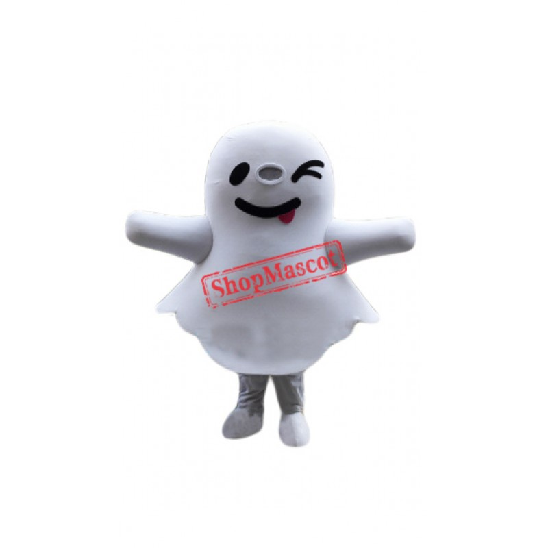Cute White Ghost Mascot Costume