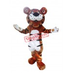 Happy Cartoon Tiger Mascot Costume