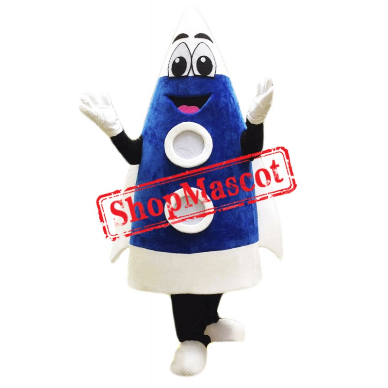 Blue Rocket Mascot Costume