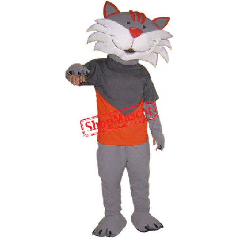 Happy Grey Cat Mascot Costume
