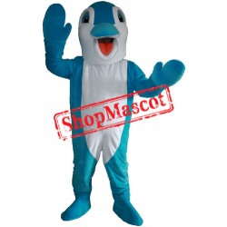 Happy Blue Dolphin Mascot Costume
