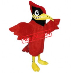 Fur Fabric Red Cardinal Mascot Costume