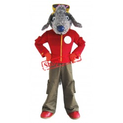 Grey Bedlington Dog Mascot Costume