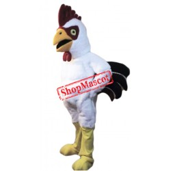 Power Muscular White Rooster Mascot Costume