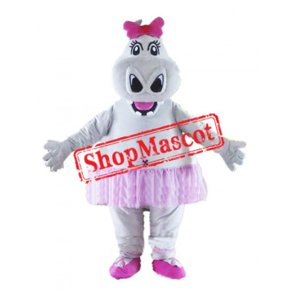 Cute Girl Hippo Mascot Costume