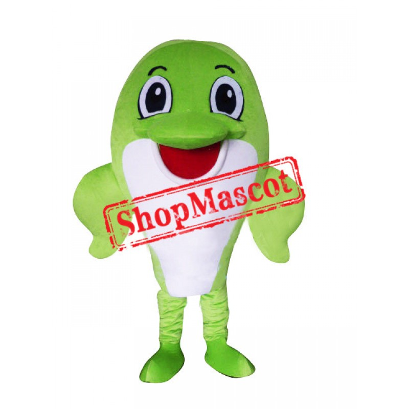 Happy Lightweight Green Dolphin Mascot Costume