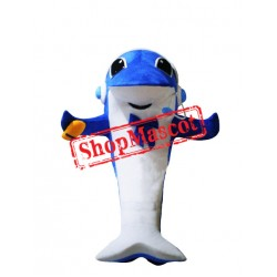 Happy Lightweight Blue Dolphin Mascot Costume