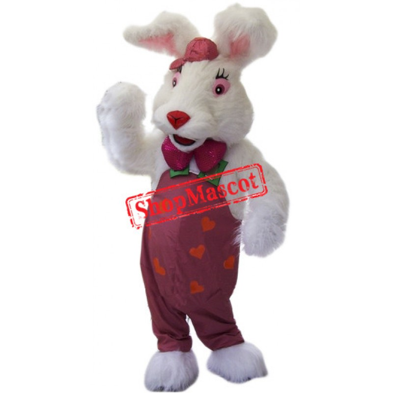 Cute White Furry Rabbit Mascot Costume