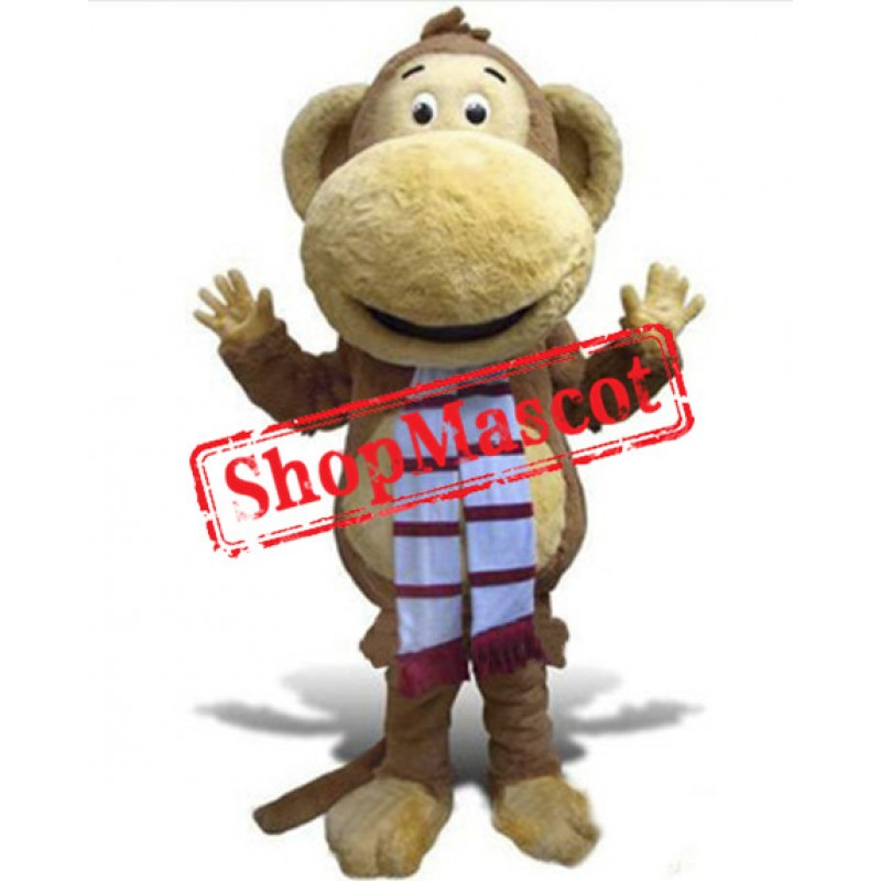 Happy Lightweight Furry Monkey Mascot Costume