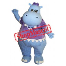 Female Blue Hippo Mascot Costume