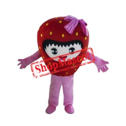Happy Strawberry Girl Mascot Costume