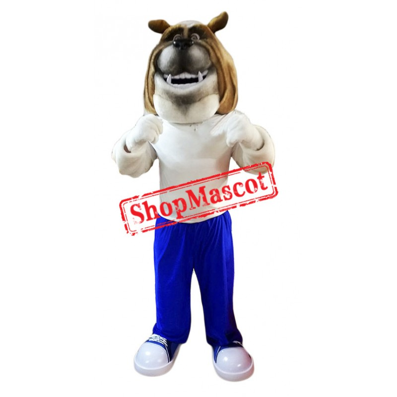 Happy Lightweight Bulldog Mascot Costume