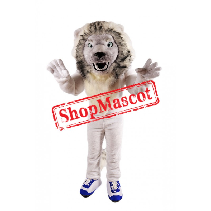 Fierce White Lion Mascot Costume